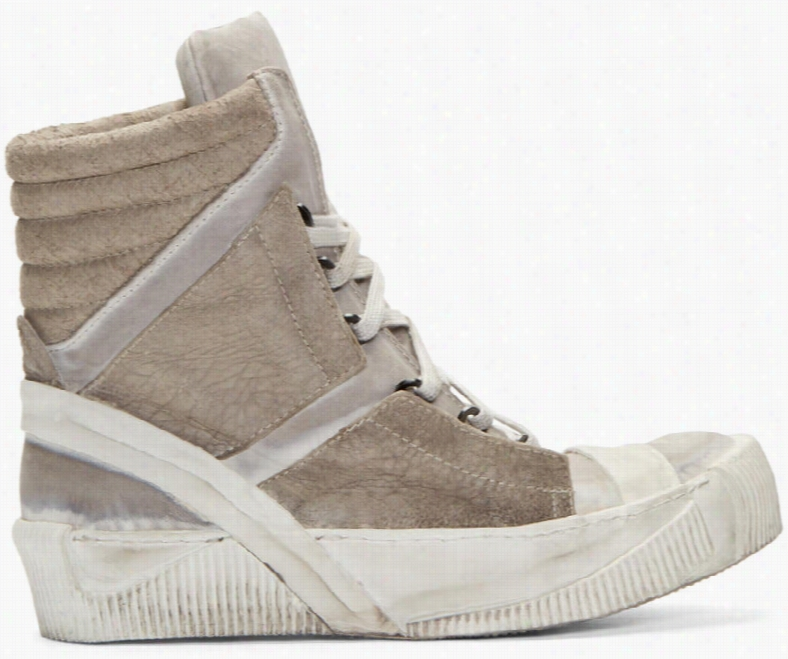 Boris Bidjan Saberi Grey Lamb Leather Bamba 4 Sneakers