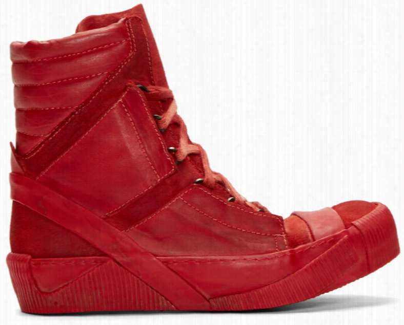 Boris Bidjan Saberi Red Horse Leather Bamba 4 Sneakers