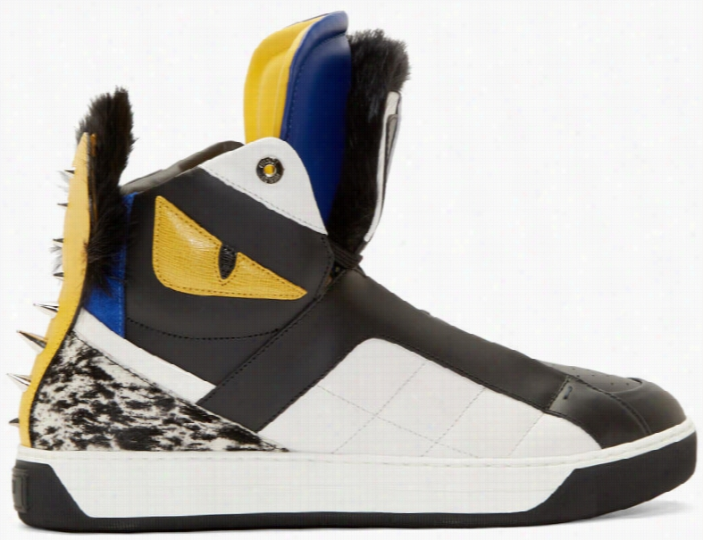 Fendi Black Fur Bugs High-top Sneakers