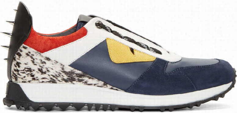 Fendi Navy and White Leather Bugs Low-top Sneakers