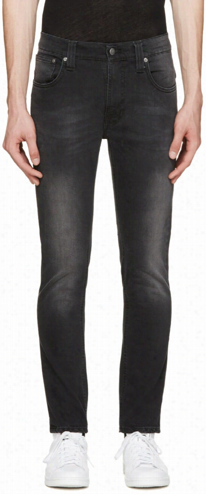 Nudie Jeans Black Faded Thin Finn Jeans
