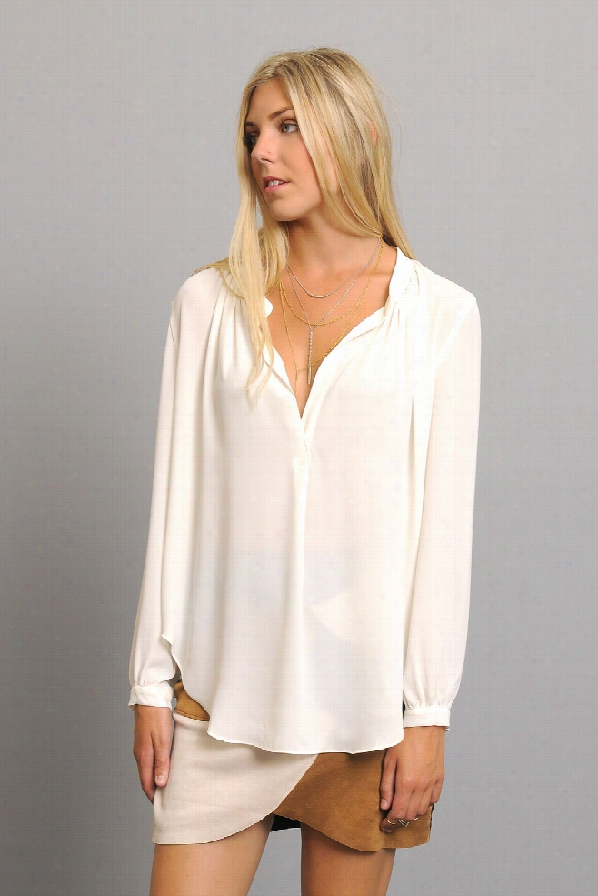 Olivaceous Solid Notch Long Sleeve Blouse