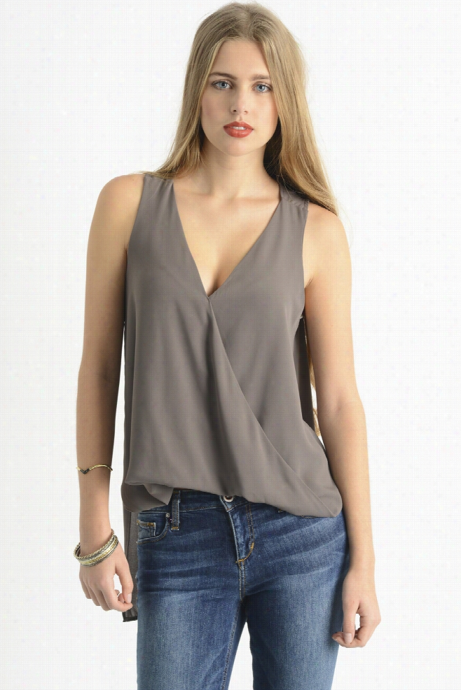 Abbeline Sleeveless Surplice Blouse