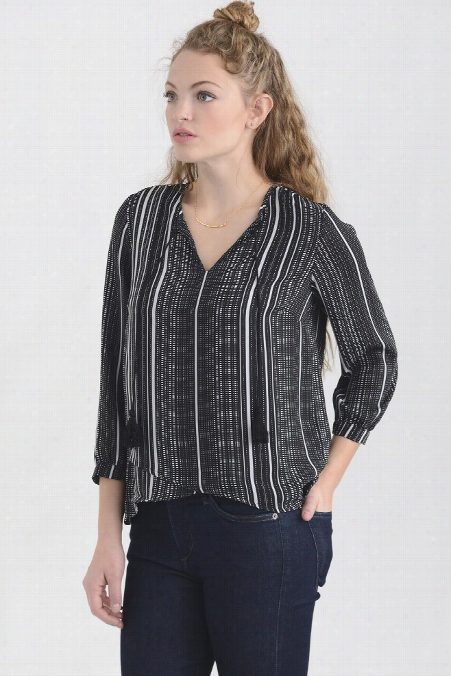 Collective Concepts Striped Notch Blouse