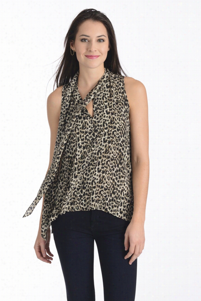Eight Sixty Animal Print Tie Neck Blouse