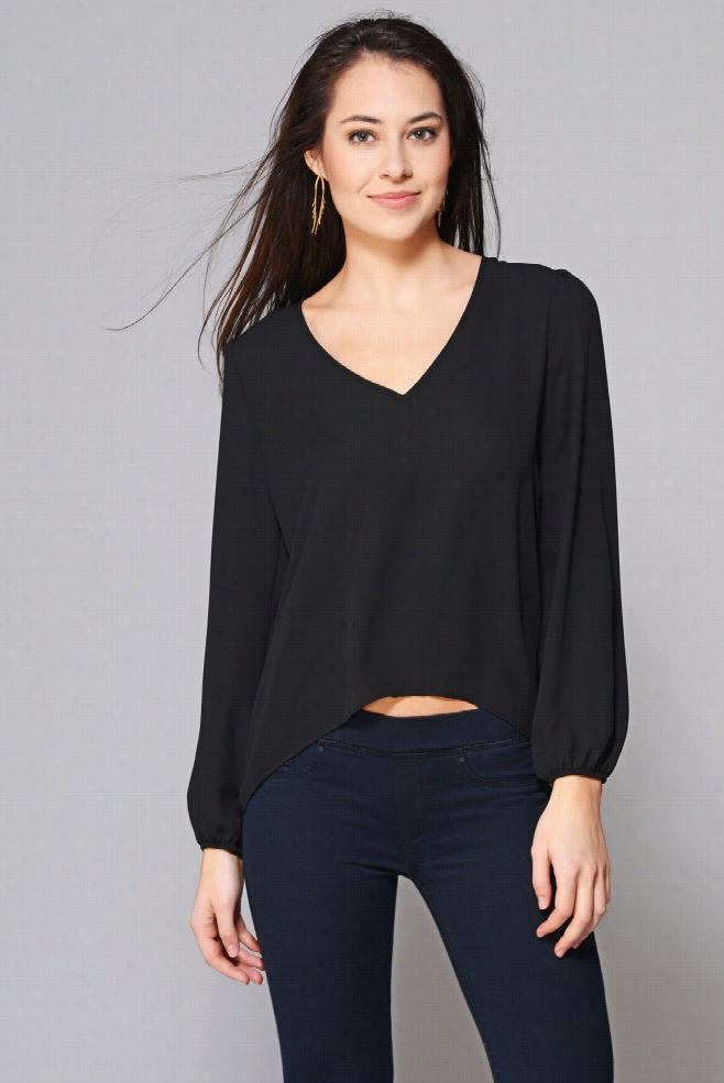 Eight Sixty Long Sleeve Hi Low Blouse