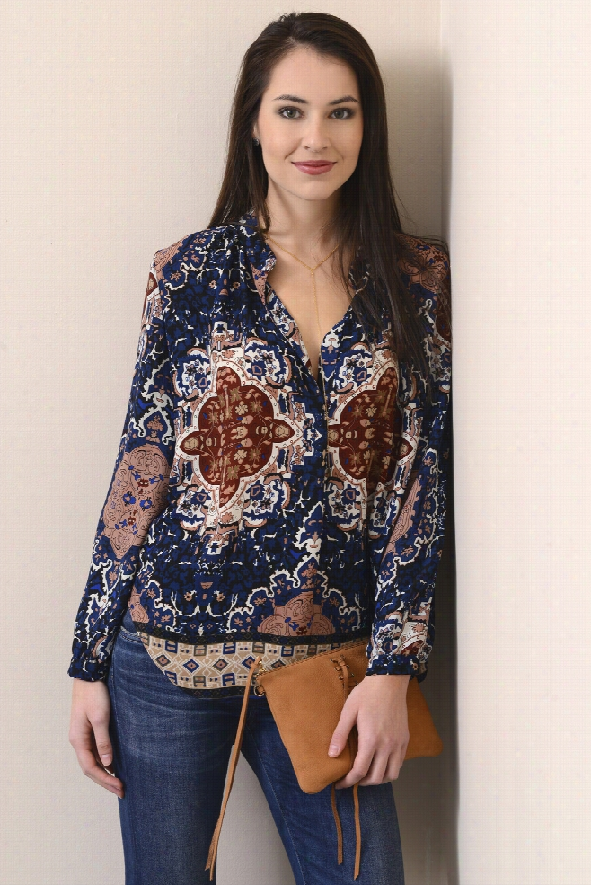 Olivaceous Medallion Notch Blouse