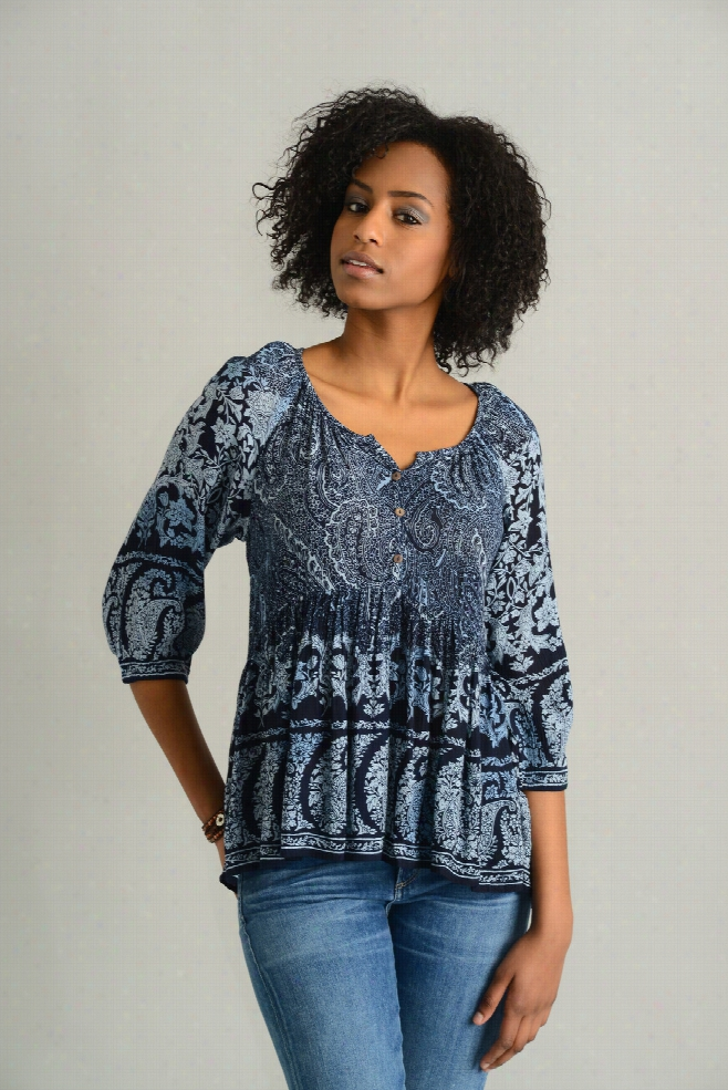 Patrons of Peace Bandana Border Print Blouse