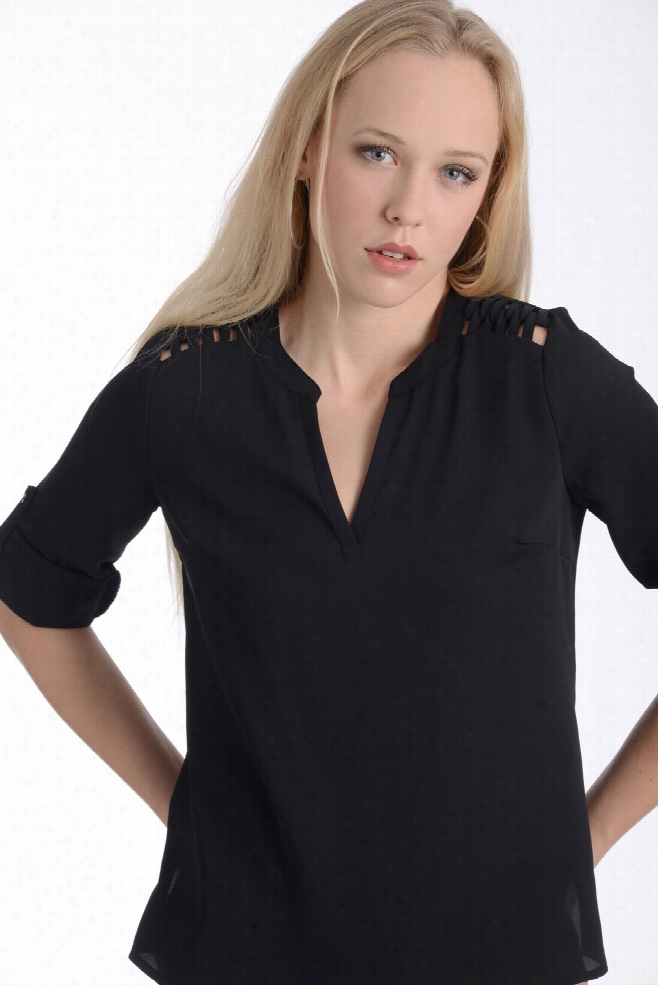 Skies are Blue Cage Notch Blouse