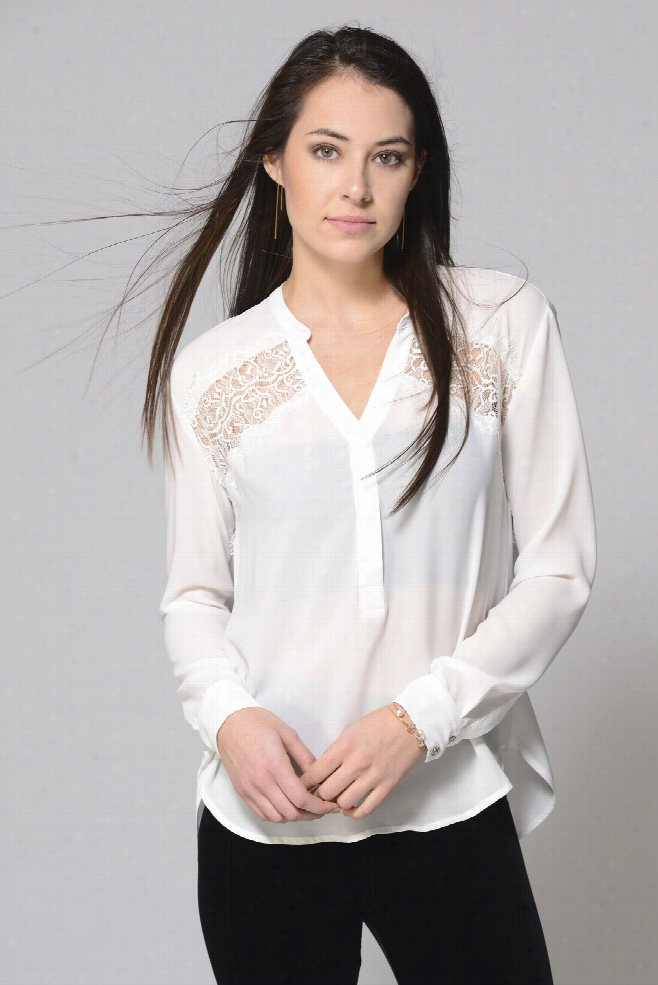 Willow & Clay Lace Inset Pleated Back Blouse