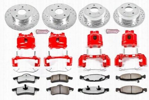 Power Stop Performance 1-Click Brake Kit with Z36 Extreme Brake Pads KC2148-36 Disc Brake Calipers, Pads and Rotor Kits