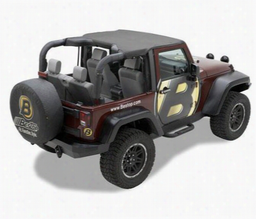 Bestop Header Style Jeep Bikini Top in Black Diamond 52586-35