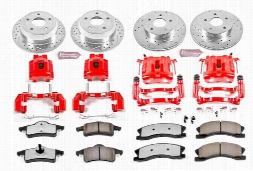 Power Stop Performance 1-Click Front and Rear Brake Kit with Z36 Extreme Brake Pads KC2150-36 Disc Brake Calipers, Pads and Rotor Kits