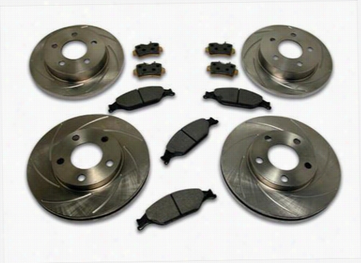 Stainless Steel Brakes Rotor Kit - Short Stop - Turbo Slotted Rotor & Pad Kit A2370043 Disc Brake Pad and Rotor Kits