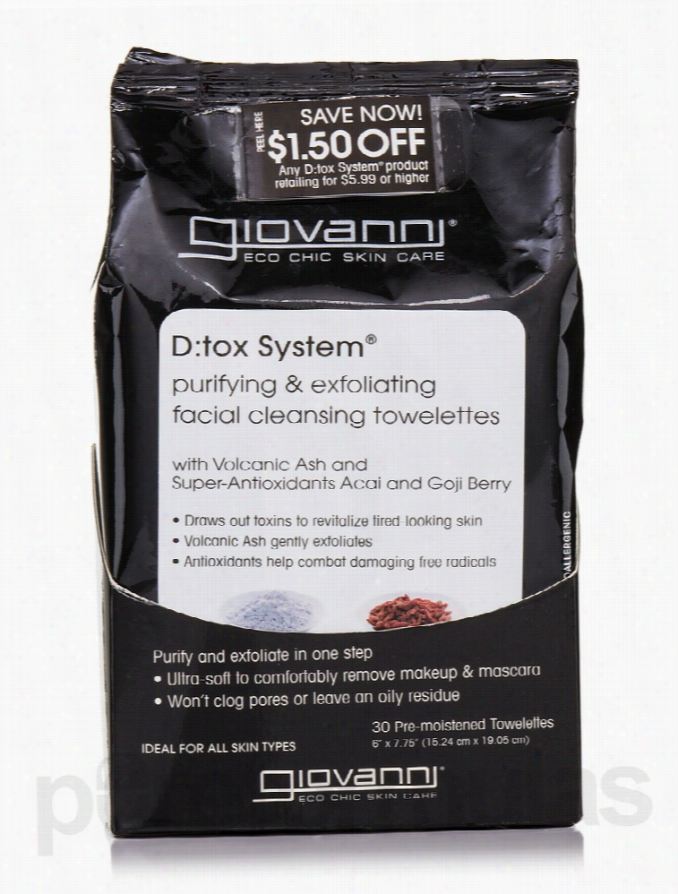 Giovanni Cosmetics Skin Care - D:tox Facial Cleansing Towelettes