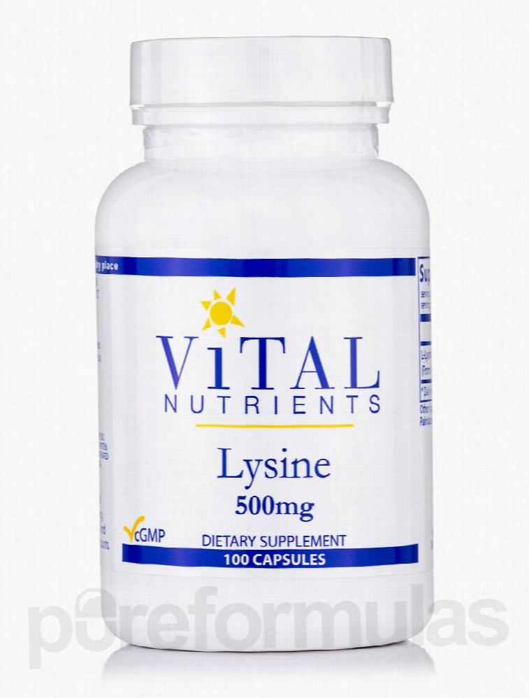 Vital Nutrients Immune Support - Lysine 500 mg - 100 Capsules