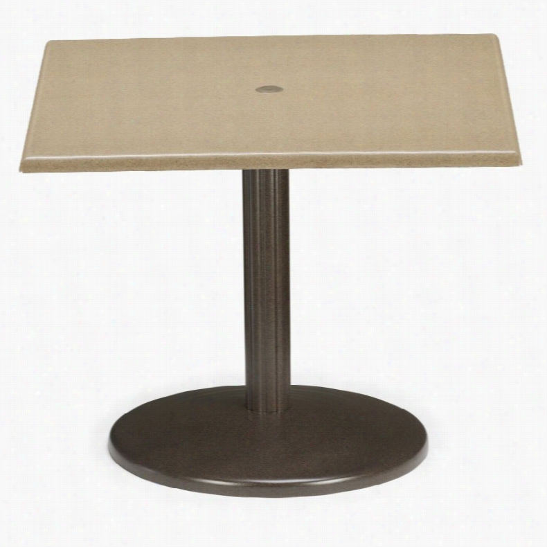 Telescope Casual 36 in. Square Werzalit Spun Pedestal Conversation Height Table with Hole and Support White Textured Harvest