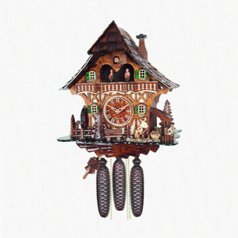 River City Clocks MD892-13 Woodchopper and Waterwheel Musical Cottage Cuckoo Clock