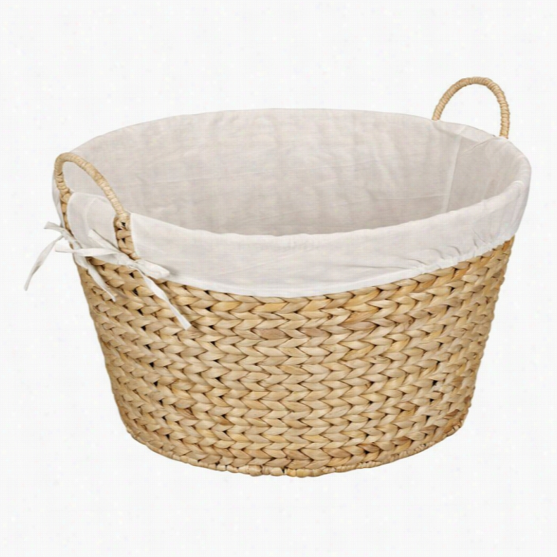 Household Essentials Banana Leaf Round Laundry Basket Natural