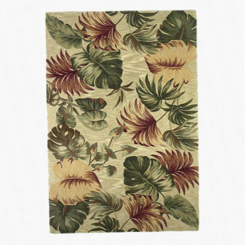 Kas Rugs Sparta Palm Leaves Area Rug Beige, Size: 8.5 x 11.5 ft.