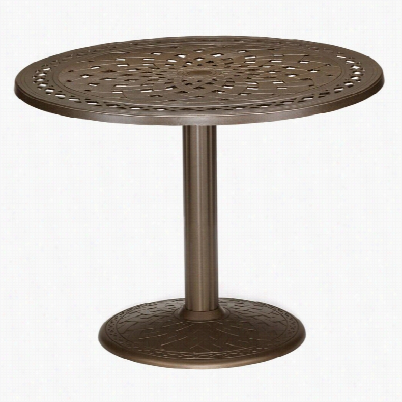 Telescope Casual 36 in. Round Cast Top Pedestal Patio Dining Table