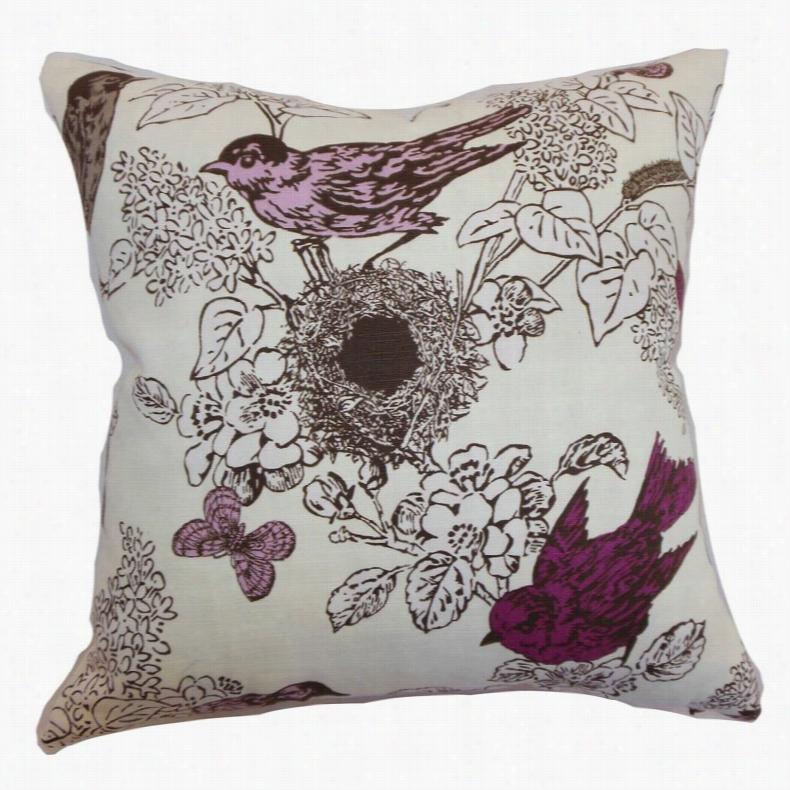 The Pillow Collection Ouvea Birds Pillow Smoke