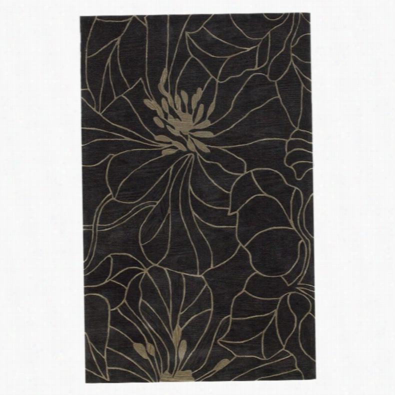KAS Rugs Bali Charcoal/Taupe Floral Chic Area Rug, Size: 8 x 10 ft.