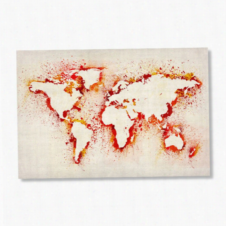 Paint Outline World Map by Michael Tompsett Wall Art, Size: 32W x 22H in.