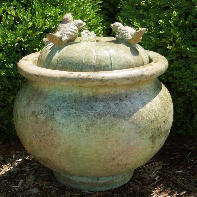 Henri Studio Birds Patio Bubbler Outdoor Floor Fountain Sepia