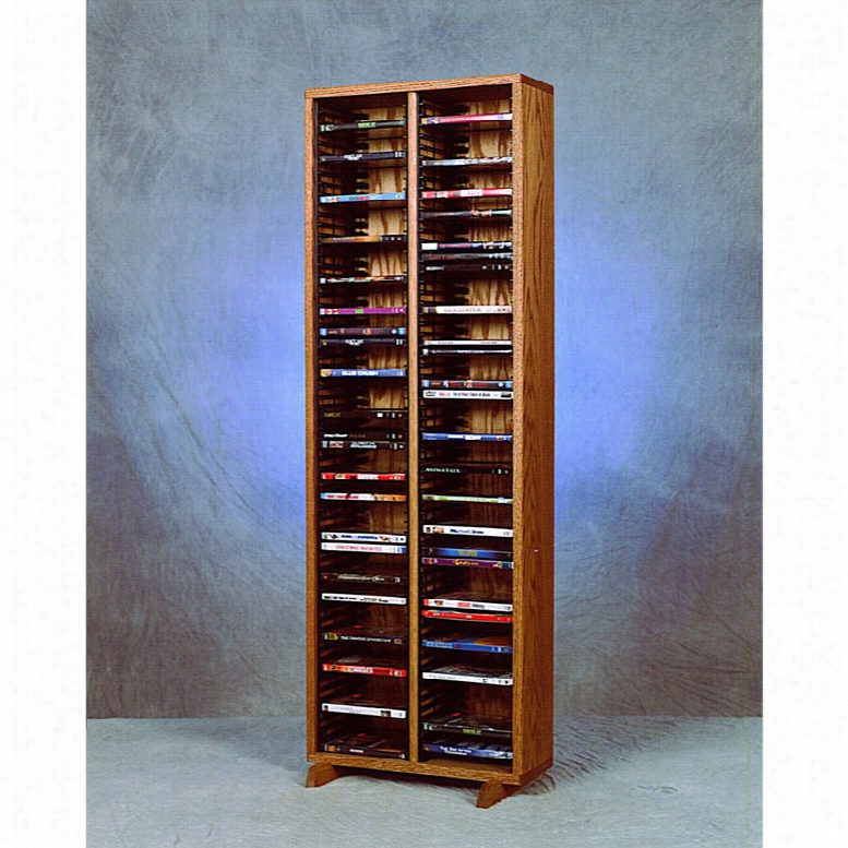 The Wood Shed Solid Oak 128 DVD Media Tower with Individual Locking Slots Honey Oak