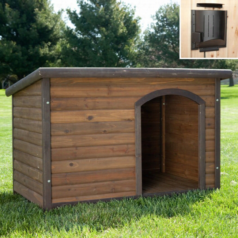 Boomer & George Log Cabin Dog House with Heater & 2 FREE Bowls, Size: Small