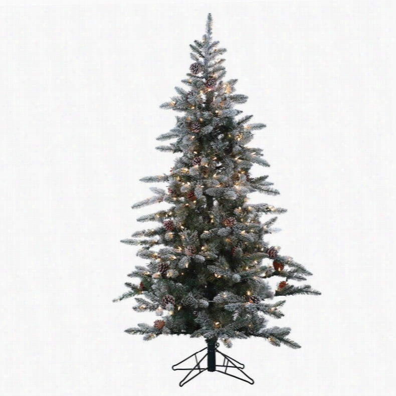 7.5 ft Flocked McKinley Pine prelit Full Christmas Tree by Sterling Tree Company