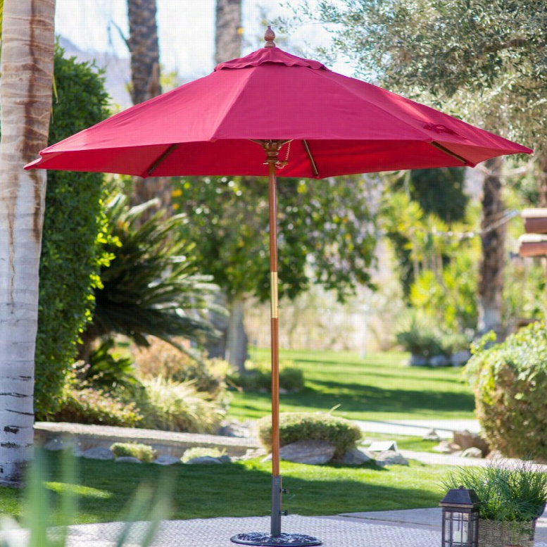 Belham Living 9 ft. Wood Commercial-Grade Sunbrella Market Umbrella Sunbrella Cocoa