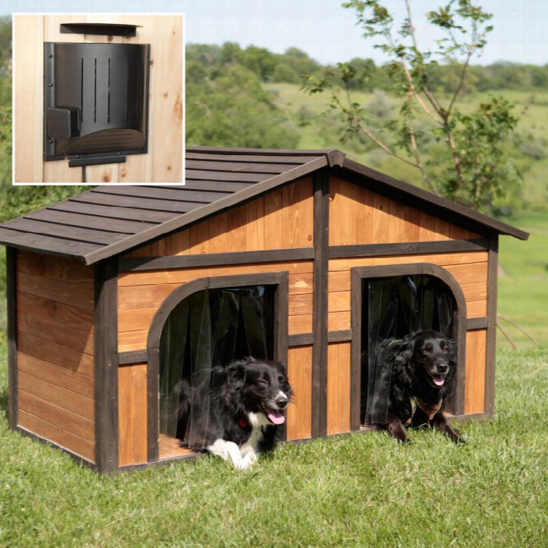 Boomer & George Duplex Dog House with Heater & FREE Doors Darker Stain