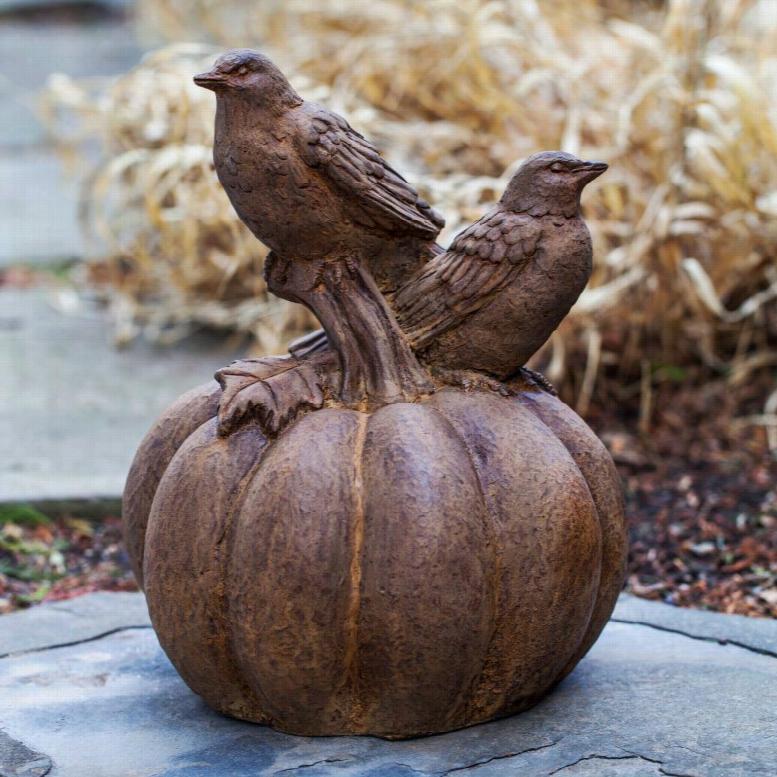Campania International Birds On A Pumpkin Cast Stone Garden Statue
