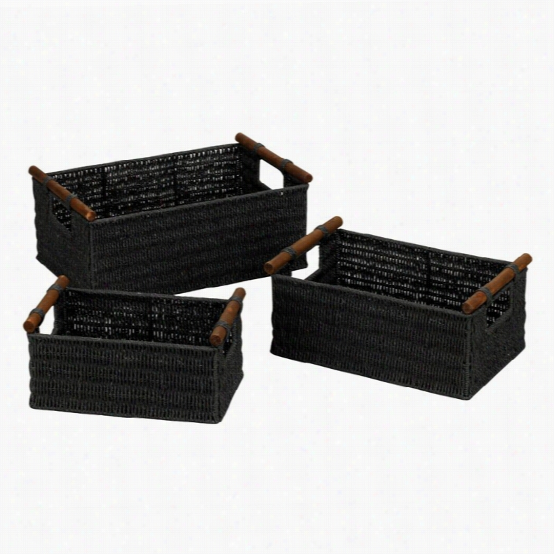 Household Essentials Paper Rope Baskets with Wood Handles