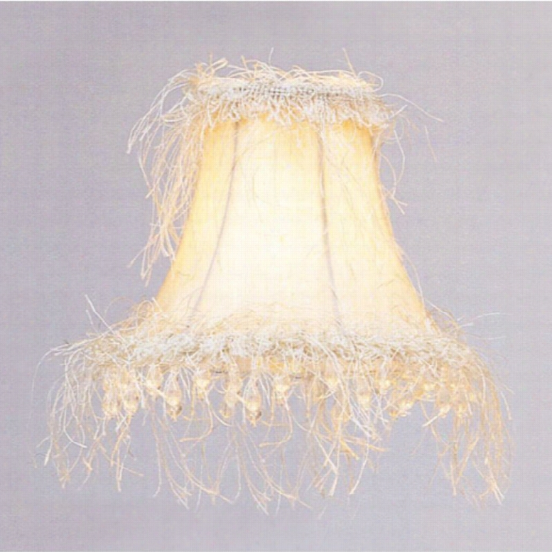 Livex S106 Silk Bell Clip Chandelier Shade with Corn Silk Fringe and Beads in Off White