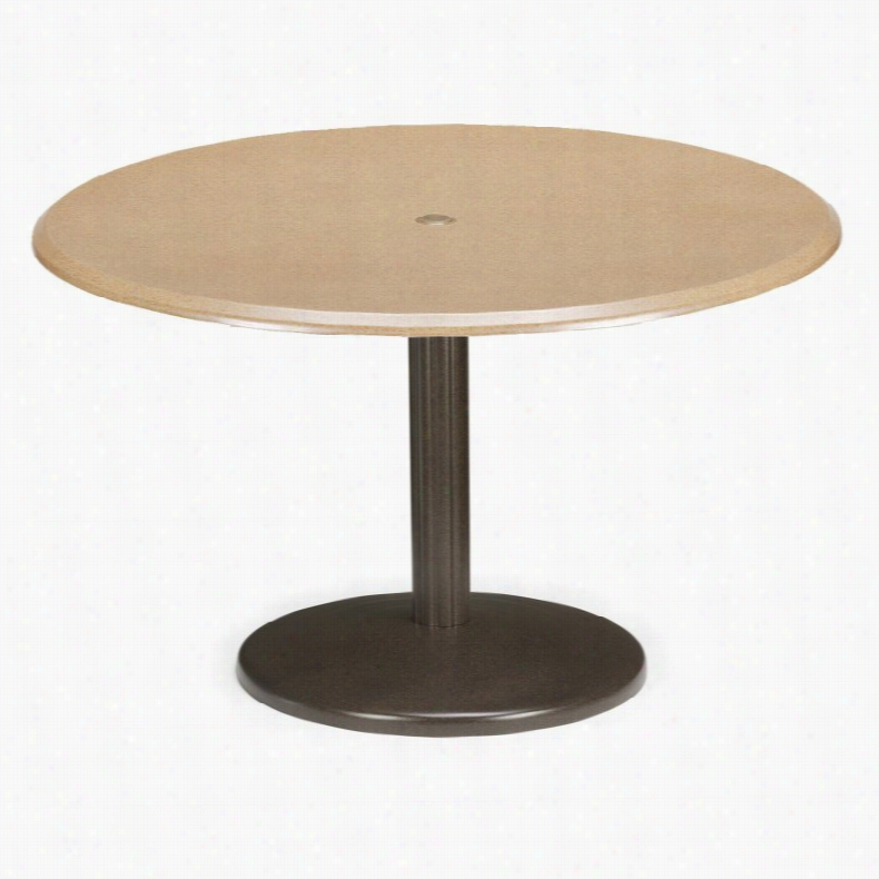 Telescope Casual 42 in. Round Werzalit Spun Pedestal Table with Hole and Support Cressida Textured Graphite