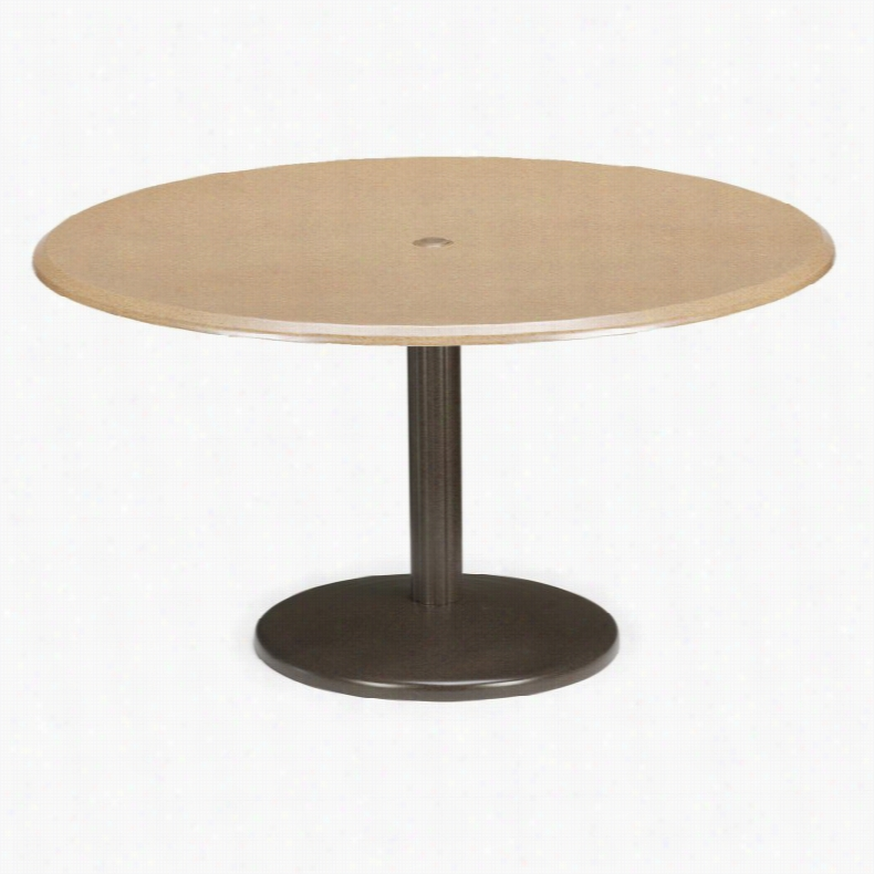 Telescope Casual 48 in. Round Werzalit Spun Pedestal Bar Height Table with Hole and Support Coriander Fiber Aged Bronze