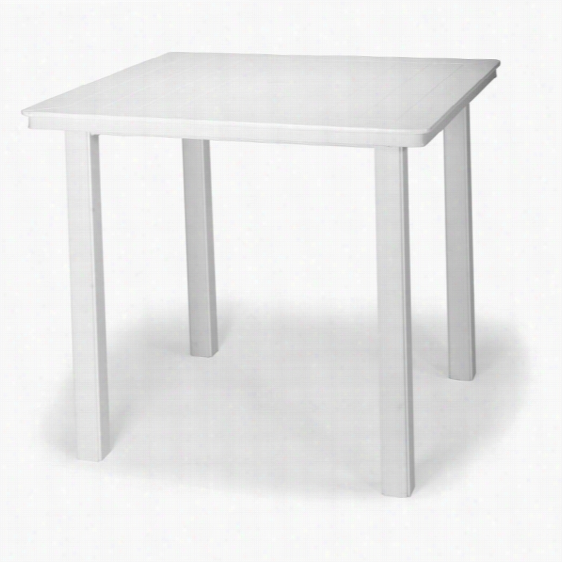 Telescope Casual Marine Grade Polymer Square Balcony Height Table Textured Silver, Size: 42 in.