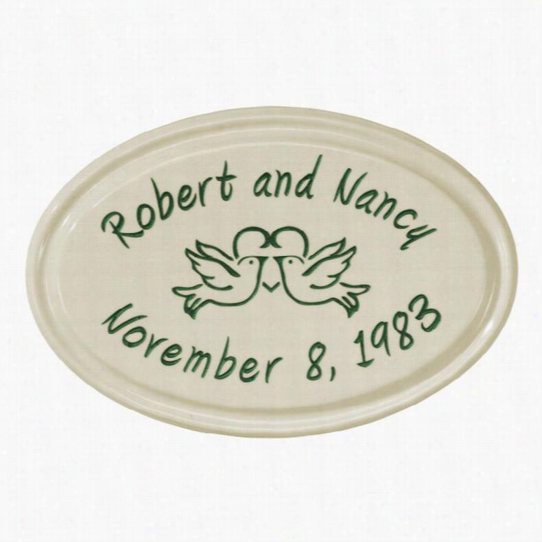 White Hall Anniversary Heart Birds Ceramic Oval Petite Wall Address Plaque Bristol/Black