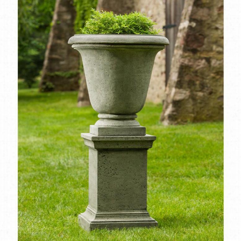 Campania International Rustic Hampton Urn Planter with Pedestal