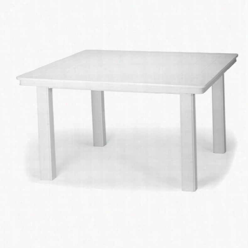 Telescope Casual 42 in. Marine Grade Polymer Square Conversation Height Table Textured Snow