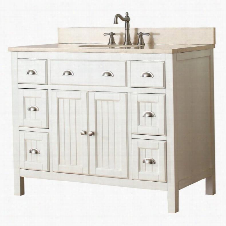 Avanity HAMILTON-VS42-FW Hamilton 42-in. Single Bathroom Vanity Marble Beige Top