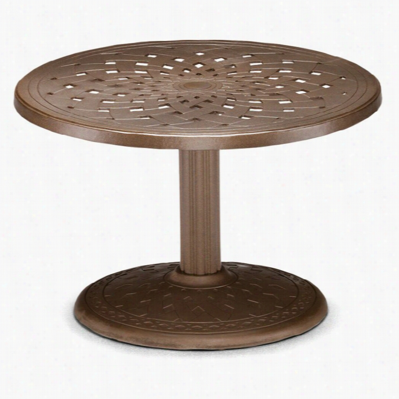 Telescope Casual 30 in. Round Cast Aluminum Pedestal Conversation Height End Table