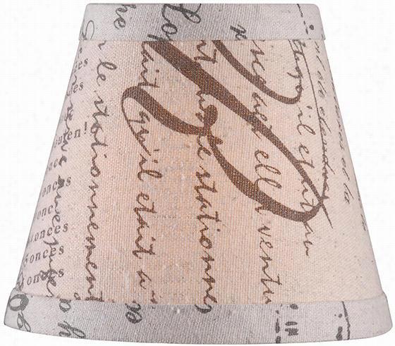"Linen Empire Chandelier Shade - 4.5""Hx5""Diameter, French Script"