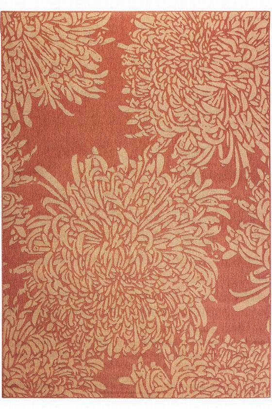 "Martha Stewart Living Chrysanthemum All-Weather Rug - 7'11""X11', Coral"