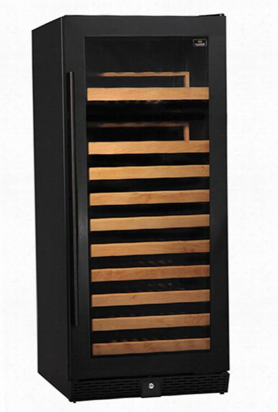 "100-Bottle Single Zone Compressor Wine Cooler - 56""Hx23""Wx27""D, Black"