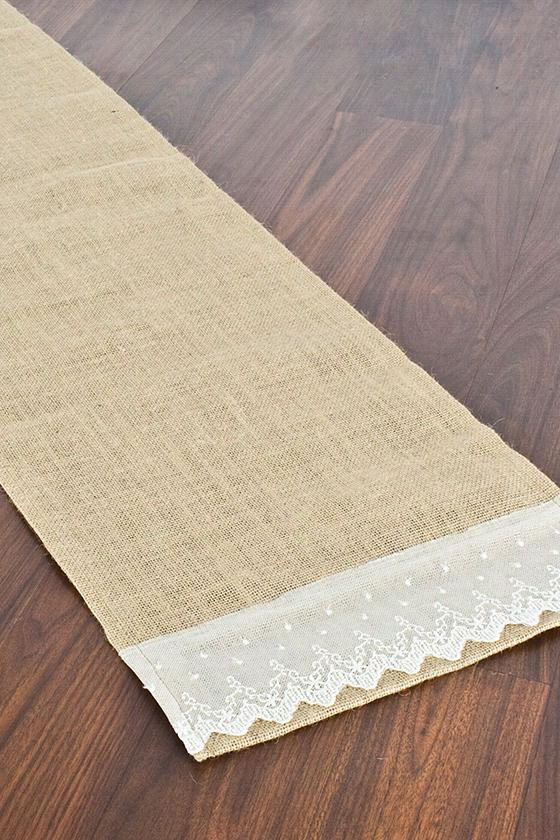 "Hemmed Table Runner With Lace Ends - 12.5""Hx72""W, Burlap Natural"