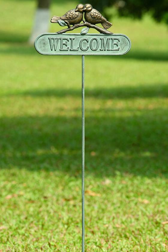 """Lovebirds Welcome Sign Garden Stake - 52""""Hx15""""Wx1""""D, Green"""